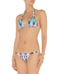ViX - Blue Mirra Low-rise Printed Bikini Briefs - Lyst