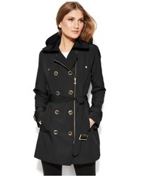 Calvin Klein | Black Double-Breasted Asymmetrical-Zip Trench Coat | Lyst
