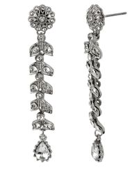Betsey Johnson - Metallic Crystallized Flower Linear Earrings - Lyst
