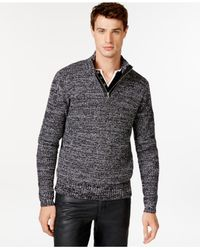 Guess | Gray Faux-leather-trim Half-zip Sweater for Men | Lyst