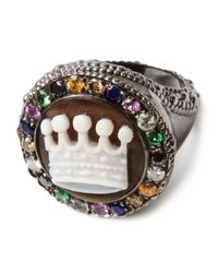 Amedeo | White Crown Embellished Signet Ring | Lyst