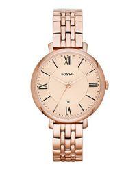 Fossil | Pink 'jacqueline' Round Bracelet Watch | Lyst