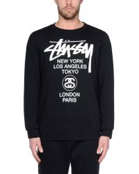 Stussy - Black Tussy Hoodie With World Tour Back Print for Men - Lyst