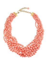St. John - Orange Multi Strand Braided Pearly Necklace - Lyst