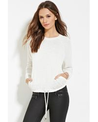 Forever 21 | Natural Contemporary Drawstring Slub Knit Top | Lyst