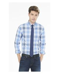 Express - Blue Fitted Mini Grid Check Dress Shirt for Men - Lyst