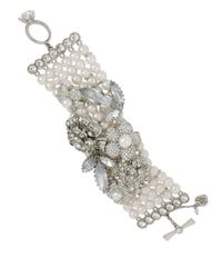 Betsey Johnson - Metallic Pearl Crystal Toggle Bracelet - Lyst