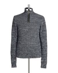 Guess | Gray Bond Leather Trimmed Sweater for Men | Lyst