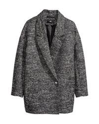 H&M | Black Marled Coat | Lyst