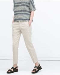 Zara | Natural Cotton Trousers | Lyst