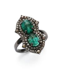 Bavna - Green Diamond, Emerald & Sterling Silver Ring - Lyst