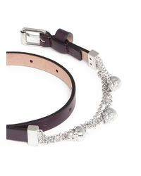 Alexander McQueen - Metallic Skull Chain Double Wrap Leather Bracelet - Lyst