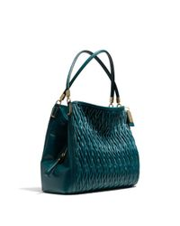 COACH - Green Madison Small Phoebe Shoulder Bag in Gathered Twist Leather - Lyst