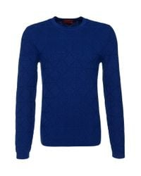 HUGO | Blue 'sonur' | Cotton Virgin Wool Geo Pattern Sweater for Men | Lyst