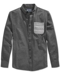 American Rag | Gray Dew Blocked Shirt for Men | Lyst