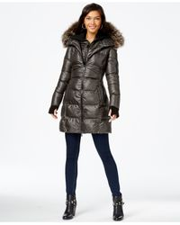 BCBGeneration | Brown Faux-fur-trim Down Puffer Coat | Lyst
