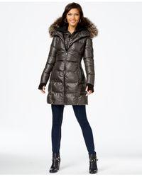 BCBGeneration | Brown Faux-fur-trim Down Puffer Coat | Lyst