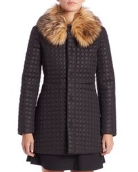 RED Valentino | Black Patterned Faux Fur-collar Puffer Coat | Lyst