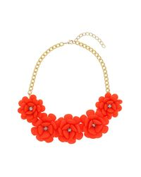 TOPSHOP - Orange Chunky Coral Flower Collar - Lyst