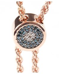 Monica Vinader - Pink Rose Gold-plated Linear Diamond Evil Eye Toggle Bracelet - Lyst