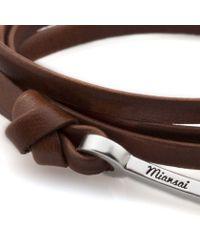 Miansai   Brown Leather Silver Hook Bracelet for Men   Lyst