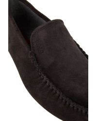 HUGO - Gray Leather Moccasins: 'c-home' for Men - Lyst