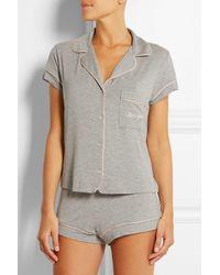 Eberjey - Gray Gisele Embroidered Stretch-Jersey Pajama Set - Lyst