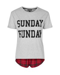 TOPSHOP - Red Sunday Funday Pyjama Set - Lyst