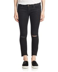 Free People | Black Skinny Distressed Jeans | Lyst