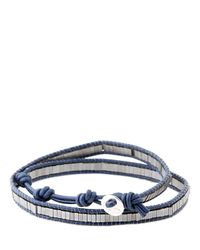 Colana | Blue Leather Wrap Bracelet W/ Silver Hematite | Lyst