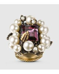Gucci | Multicolor Ring With Crystal And Glass Pearls | Lyst