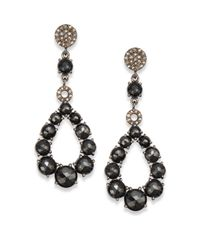 Bavna | Black Spinel Diamond  Sterling Silver Open Teardrop Earrings | Lyst