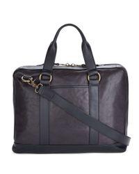 John Varvatos | Black Milano Leather Briefcase for Men | Lyst