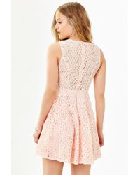 Kimchi Blue | Pink Lace Sheer Fit + Flare Dress | Lyst