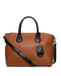 MICHAEL Michael Kors | Brown Campbell Large Leather Satchel | Lyst