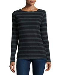 Neiman Marcus - Gray Long-sleeve Striped Cotton/cashmere Tee - Lyst