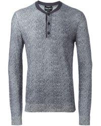 Giorgio Armani - Gray Button Neck T-shirt for Men - Lyst