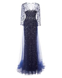 Marchesa   Blue Embroidered Gown with Tulle Skirt Overlay   Lyst