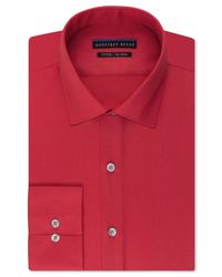 Geoffrey Beene | Red Non-iron Fitted Stretch Sateen Solid Dress Shirt for Men | Lyst