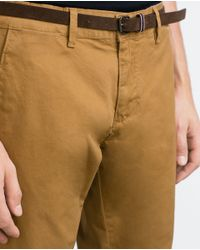 Zara | Brown Chino Style Bermuda Shorts With Belt for Men | Lyst