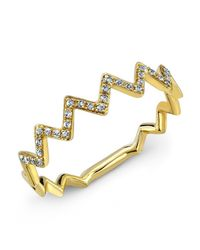 Anne Sisteron | 14kt Yellow Gold Diamond Zig Zag Stacking Ring | Lyst