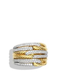 David Yurman | Yellow Labyrinth Triple-loop Ring With Diamonds | Lyst