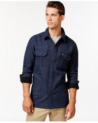 Hurley | Blue Brick Snap-front Shirt Jacket for Men | Lyst