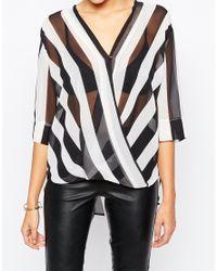 AX Paris | Black Cross Front Blouse In Stripe | Lyst
