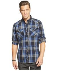 INC International Concepts - Blue Froto Plaid Shirt for Men - Lyst