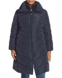 Jessica Simpson | Blue Knit Detail Quilted Down & Feather Fill Coat | Lyst