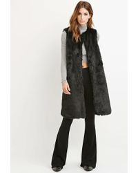 Forever 21 | Black Contemporary Longline Faux Fur Vest | Lyst