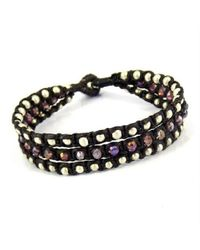 Aeravida   Black Purple Crystal-silver Beads Chic Medley Three Strand Bracelet   Lyst