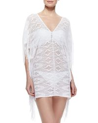 Miguelina   White Taylor Fringe-trim Lace Coverup   Lyst