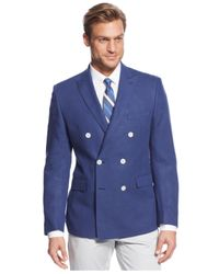 Lauren by Ralph Lauren - Blue Solid Linen Double-Breasted Sport Coat for Men - Lyst